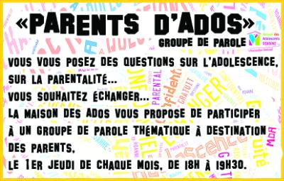 Venez rejoindre le groupe de parole Parents d'Ados et ses thématiques pour le 1er trimestre 2019