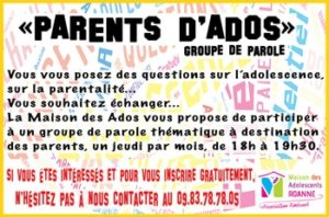 Venez rejoindre le groupe de parole Parents d'Ados et ses thématiques pour le 1er semestre 2020